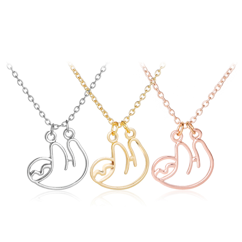 Sloth Inspired Necklace Hollow Animal Jewelry for Women Handmade Pendant Necklaces in Chain Necklaces from Jewelry Accessories