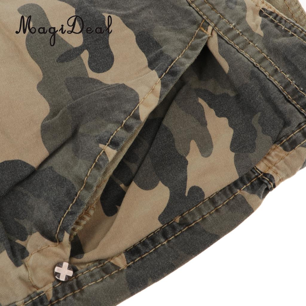 MagiDeal Men Short Trousers Outdoor Pants Vintage Combat Wear 34 Camo Khaki shorts