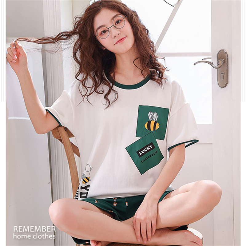 Pajamas     Set   Women Pyjamas Women Sleepwear Night suit Pijama Mujer Home Wear Women Plus size 2019 Summer Cartoon Cotton Nightwear