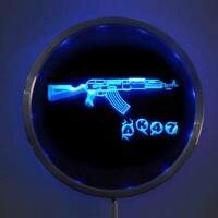 Rs-0801 AK47 Новый Калашникова LED Neon КРУГЛЫЕ ЗНАКИ 25 см/10 дюймов-Бар знак с RGB Multi -Цвет удаленного Беспроводной