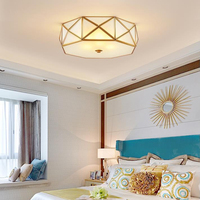 New Classical American copper LED Ceiling Lights country style retro lamps living room bedroom aisle balcony glass Ceiling lamps