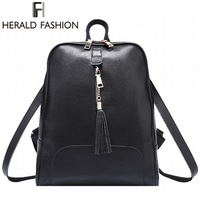 HERALD FASHION Tassel Genuine Leather Woman Solid Backpack High Quality Casual Female Backpack School Bag For