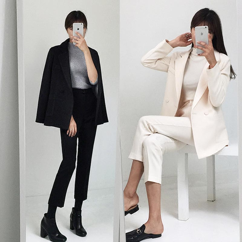 New high quality style women's clothing Blazers suit Lady's casual fashion Slim black suit Ladies trousers jacket two-piece sets men s spring fashion casual sport print hood sweatshirts trousers two piece suit