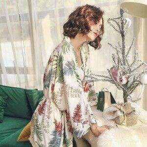 Image 5 - Новинка, женские пижамные комплекты, Женский комплект из 3 предметов, Хлопковая пижама для сна и отдыха, весенне осенняя Пижама, одежда для сна с цветочным рисунком, спортивный костюм