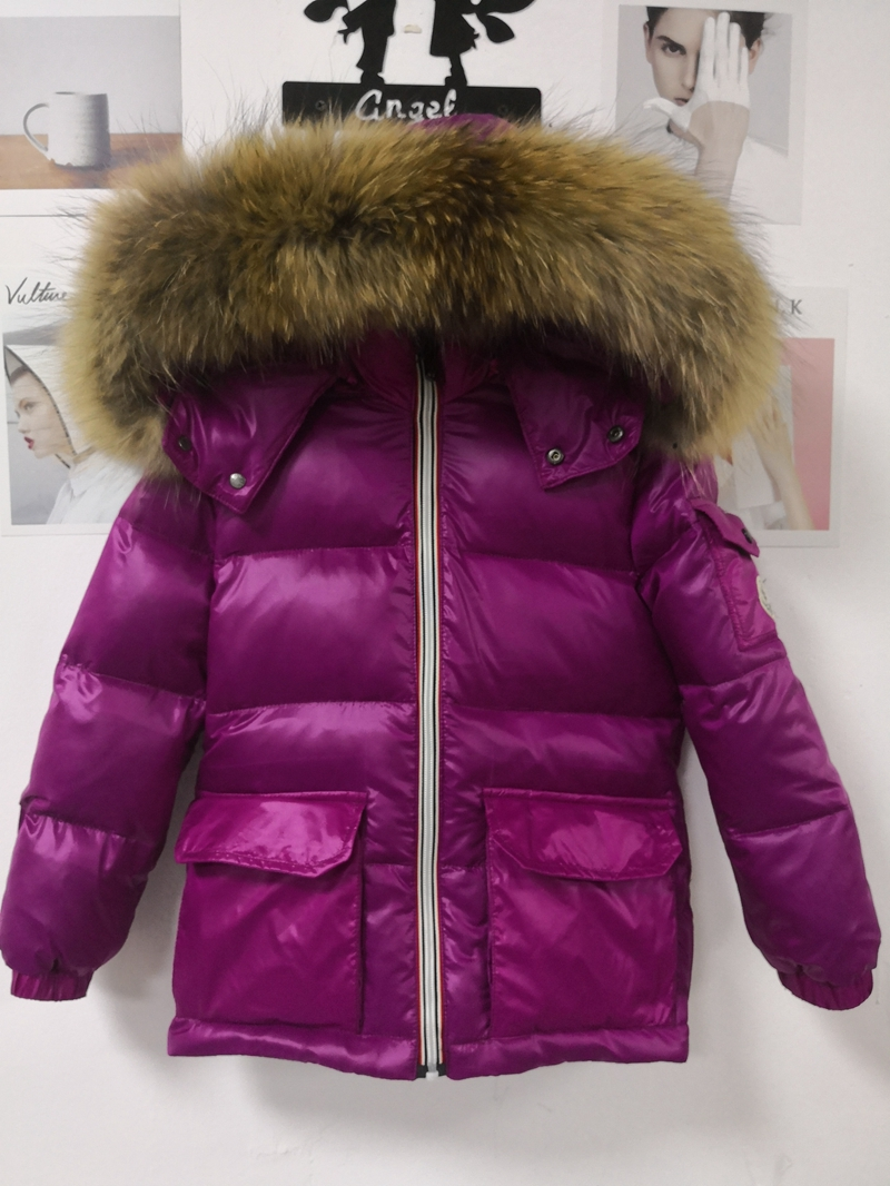 2018 Winter Fashion Girls Jacket Thick Korean Big Fur Collar Kids Coat Children Warm Boys Jackets Fur Hooded Purple Coats цена 2017
