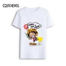 One piece o-neck single Modal Top cosplay Anime Monkey D Luffe  Print tee man T-shirt COYICHENOL monkey print tee