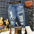 Retail 2017 Boys Girls Cartoon Print Pants Hole Denim Jeans For Boy Girl Kids Long Pant