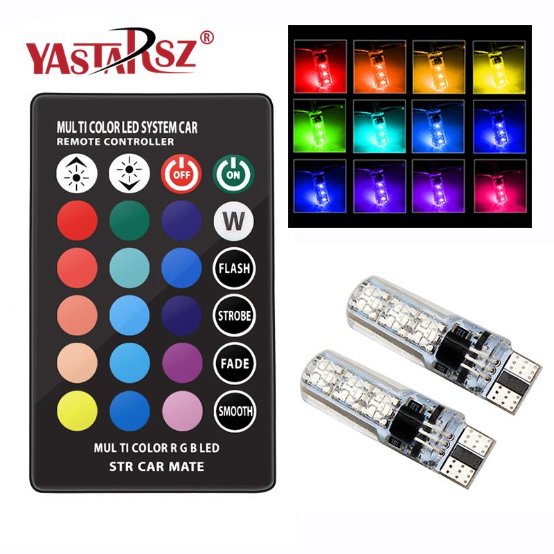 2 Pieces T10 W5W LED Car Lights LED Bulbs RGB With Remote Control 194 168 501 Strobe Led Lamp Reading Lights White Red Amber 12V jstop 2pcs set 206 207 led car reading lights t10 w5w trunk bulbs led 12vac t10 wy5w dome lights 5050smd canbus car reading lamp
