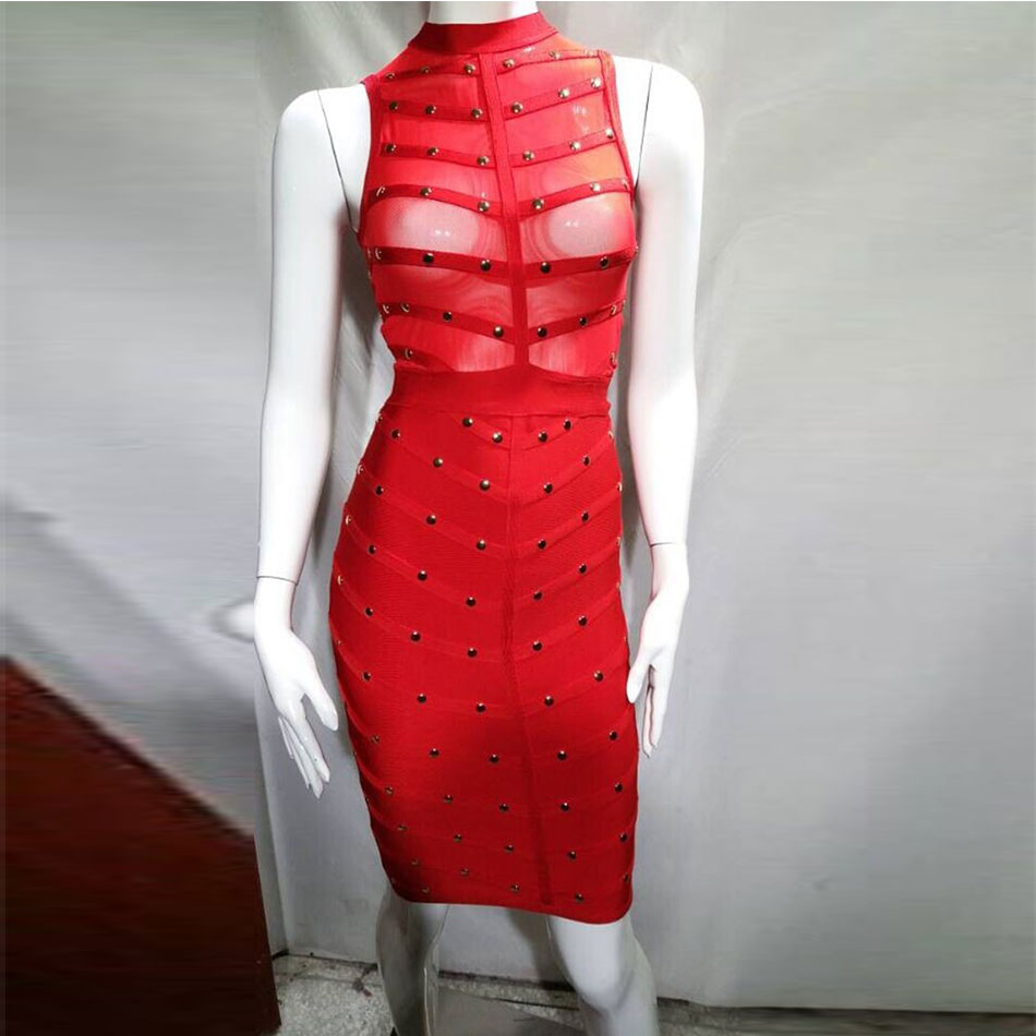 Seamyla New Verband-kleid-frauen-reiz Mesh Perlen Bodycon Kleid ...