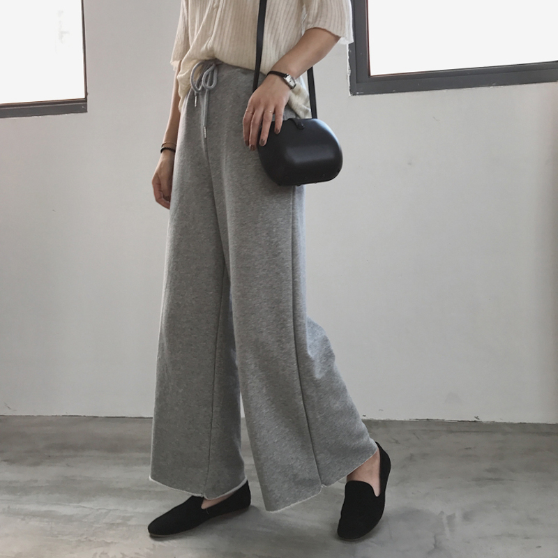 2018 autumn female   pants   casual solid color sports wind loose   wide     leg     pants