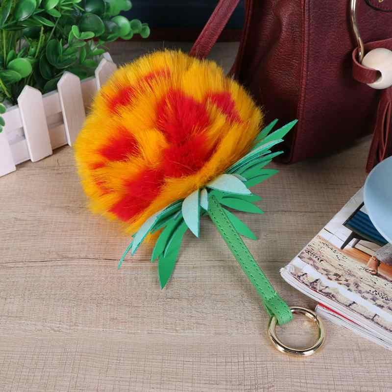 Bonito Pele Pom Pom Fofo Chaveiro Bola De Pele Bonito Da Flor chave Anel Chave Da Cadeia de Mulheres Bolsa Charme Mulheres Saco Carro acessórios
