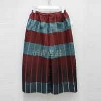 Cngpleat Мода оригинальный дизайн гофрированные женские широкие Штаны Большой размер с эластичной талией в полоску хит цвет раз укороченные Шт