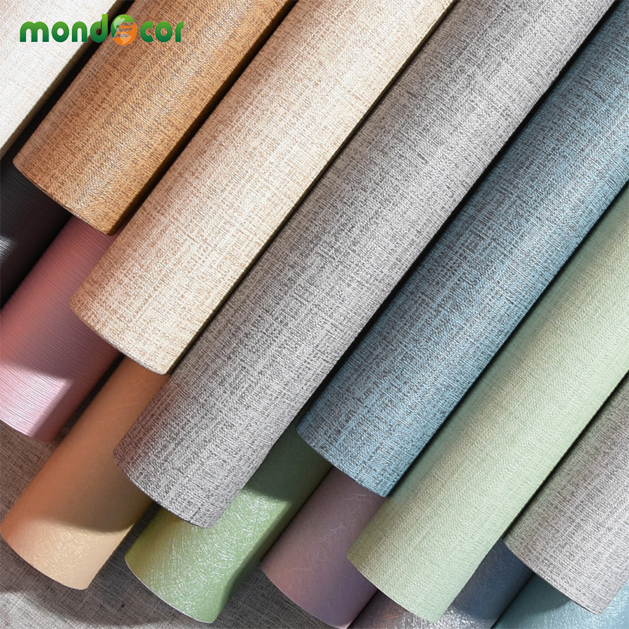 3M/5M/10M Solid Linen Vinyl Self adhesive Wallpaper DIY Waterproof Wall Stickers Home Decor Film Living Room Kitchen Door Poster stylish diy purple mangnolia and letters pattern wall stickers for home decor