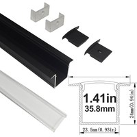 UnvarySam 1M Black Aluminum Profile With Clear Cover For LED Strip Aluminum Channel Shapes Low Cost