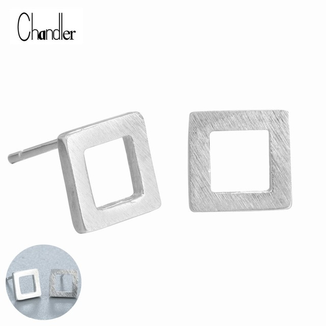 3edf2de4818a5 US $2.12 32% OFF|2017 New Hollow Square Table Post Stud Earrings  Geometrical 925 Silver Sterling Jewelry Matte Finish Simple Homme  pendientes-in Stud ...