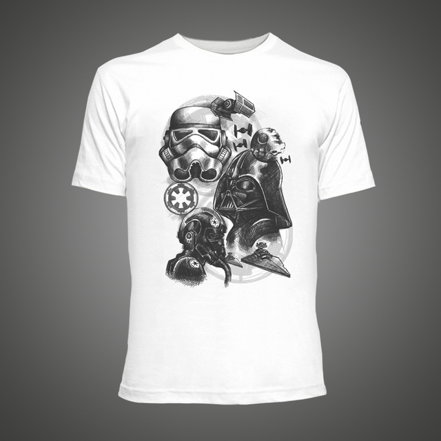 Cool Star Wars Empire Sketch robot White hip pop funny t-shirt