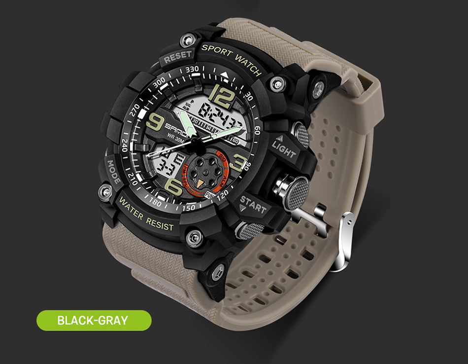 Sanda 759 Men Military Sport Watch Black Gray