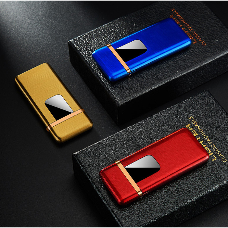 New Ultra-thin USB Charging Lighter Touch Screen Electronic Lighter Small Charging Electric Lighter Windproof Men's Gift
