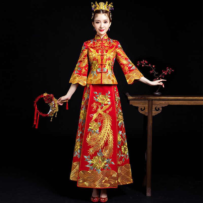 מזרחי אדום סיני מסורתי חתונה שמלת נשים פניקס רקמת Cheongsam Qipao ערב שמלת סין הכלה מסורות