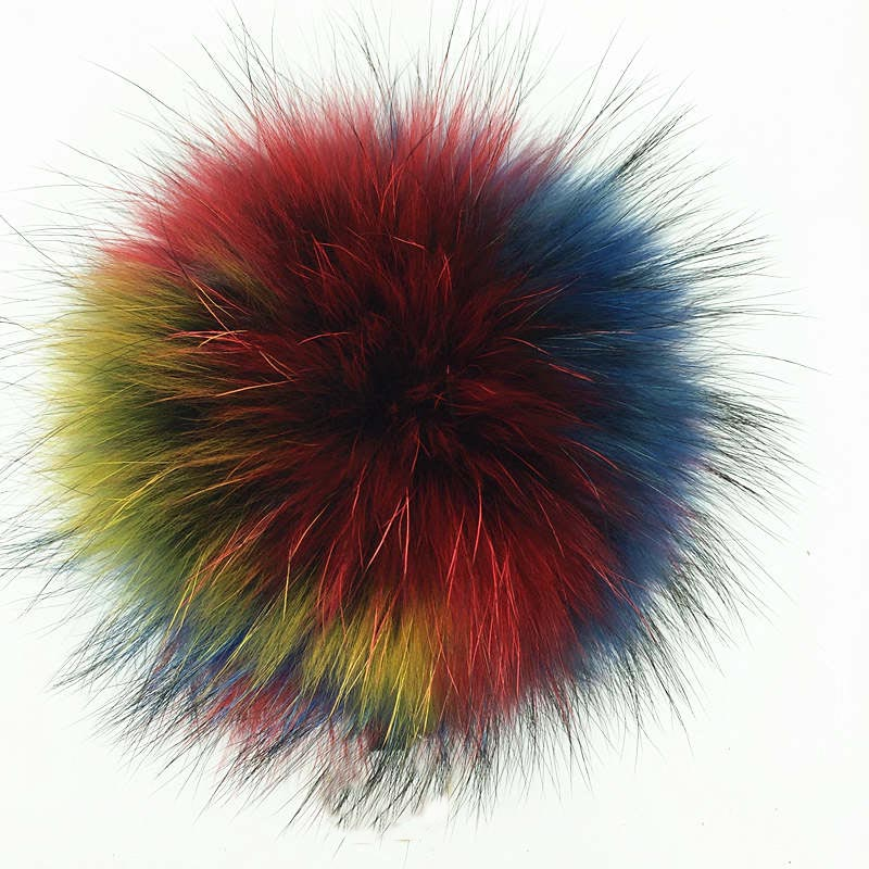 Pompon en fourrure de renard véritable 13 cm pour dépôt de chapeau
