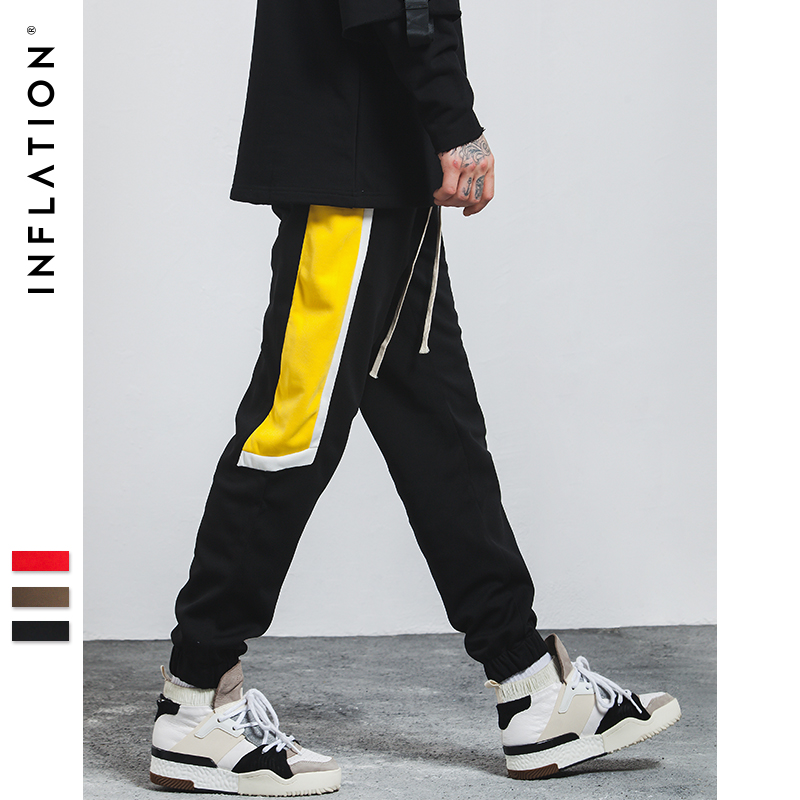 INFLATION 2017 New Autumn Mens Sportswear Pants Split Side Stripe Letter Embroidery Contrast Color Casual Mens