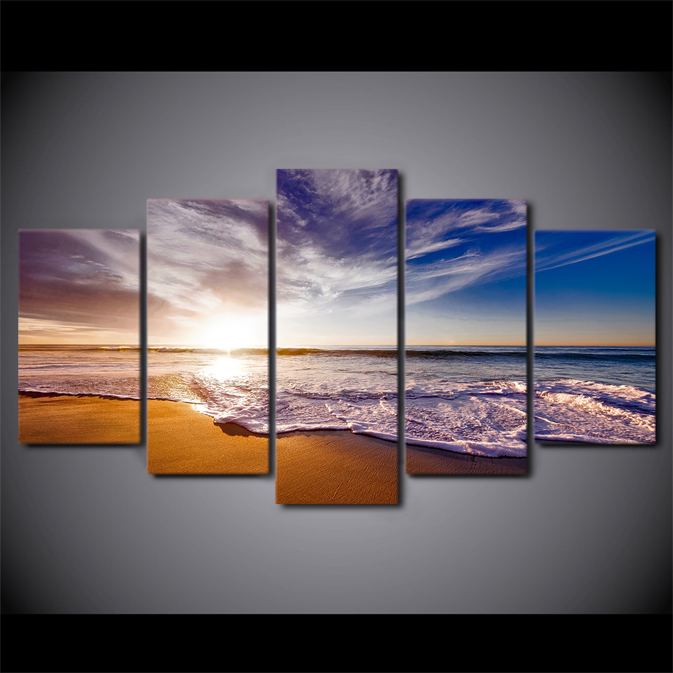 Home Decor Paintings For Living Room 5 Panel Sunrise Sea