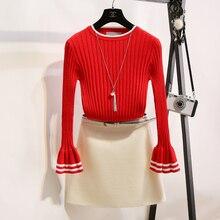 2016 autumn new women's Korean hit color slim fitting long sleeved sweater knitting