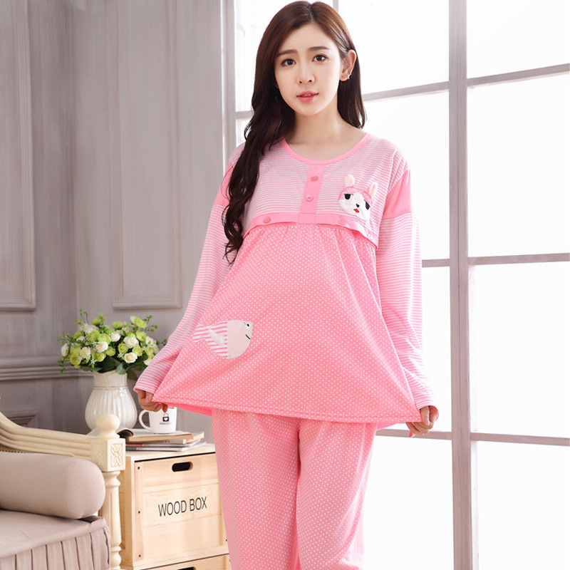Maternity Clothing Pink Dot Pajamas for Pregnant Woman Nursing Costumes of Breast Feeding Sleepwear Breastfeeding Clothes