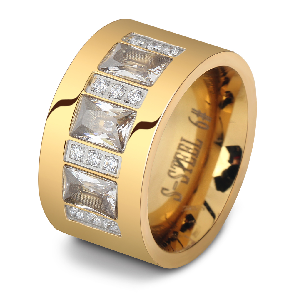 Fashion Women Crystal Rings Yellow Gold Color Stainless Steel