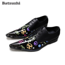 Batzuzhi Fashion Men Oxford Shoes Pointed Metal Toe Black Genuine Leather Dress Shoes Men Lace-up Formal Business Shoes, Big 12 new arrival black alligator genuine leather handmade metal tip spikes pointed toe slip on formal dress shoes sexy fashion mans