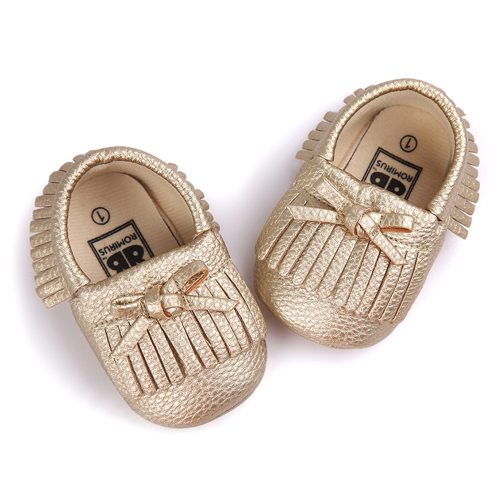 ROMIRUS Latest Baby Tassel Bow Moccasins Infant Casual Shoes Soft Sole Babies Booties First Walkers Toddler Gold 12cm