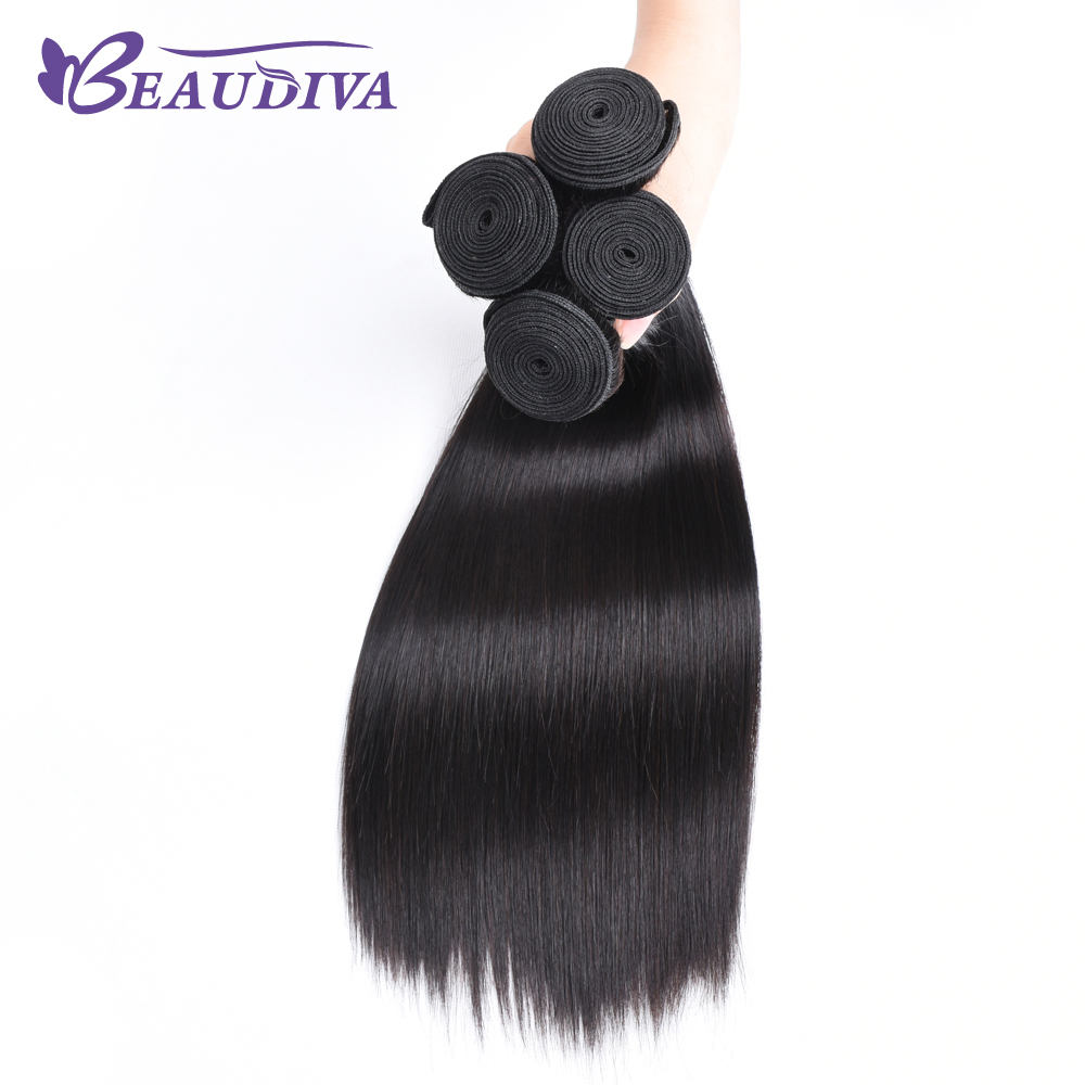 BEAUDIVA Brazilian Straight Hair 3 Bundles Jet Black 100% 8-26 Silky Straight Human Hair Non Remy Brazilian Hair Weave Bundles