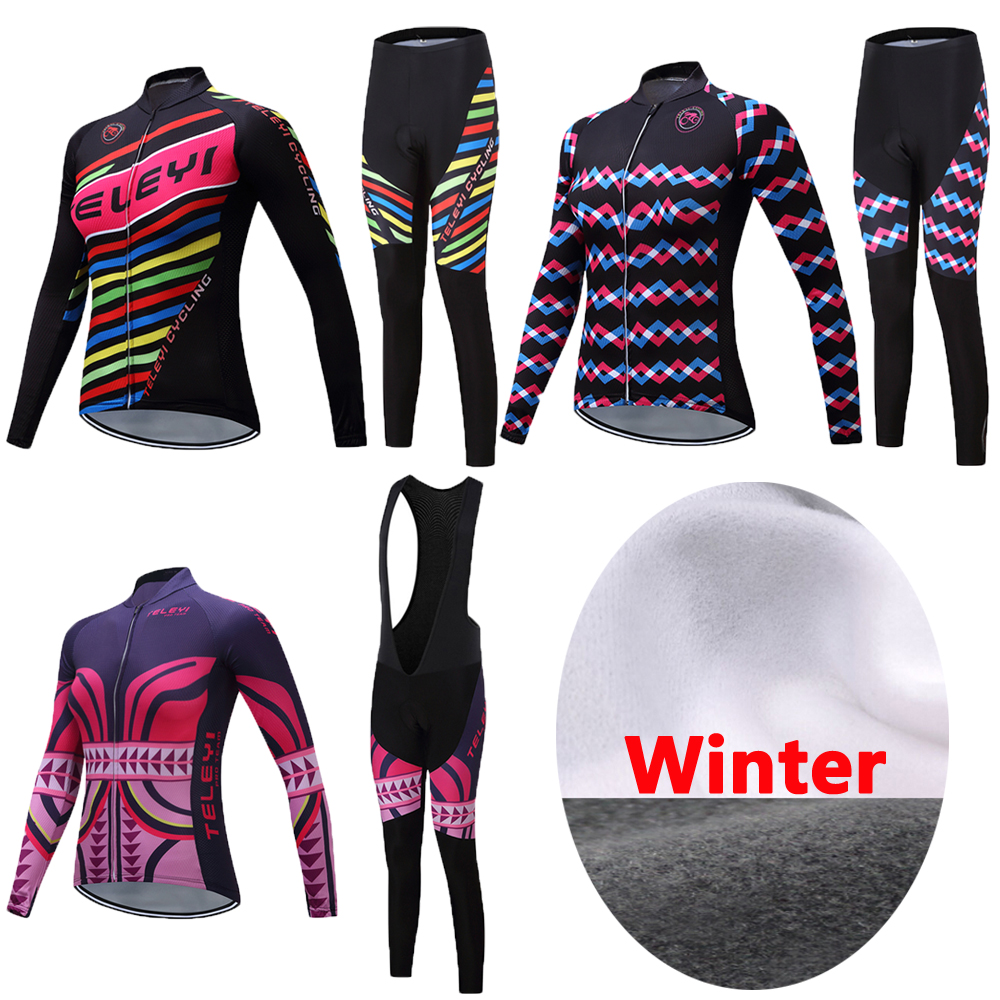 2019 Women's Winter Thermal Fleece Cycling Jersey Kits Bike Clothing Female Bicycle Clothes Maillot Bib Pants Sets Uniform Wear