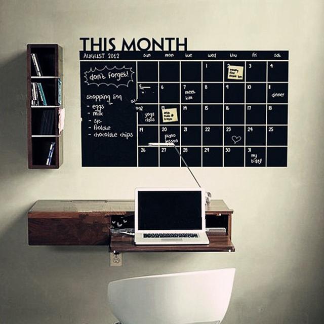 60*92cm PVC Material Home Office Decor Chalk Board Blackboard Monthly Calendar Wall Sticker
