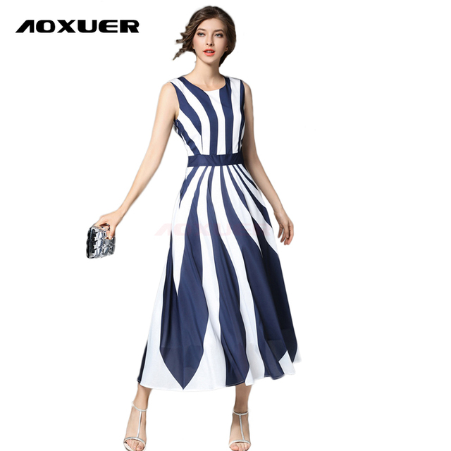 ec1146b6bf9 AOXUER Summer New European Runway Striped Print Chiffon Dress Women  Sleeveless Elegant Work Office Fashion Long Dresses B250