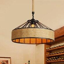 Vintage Loft kenevir halat askılı lamba Retro restoran oturma yemek odası yatak odası Cafe Bar kulübü E27 LED endüstriyel kolye ışık