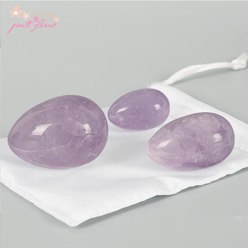 Unrilled Love Egg 3 stk / sett Naturlig Amethyst Crystal Yoni Egg - Helsevesen - Bilde 2