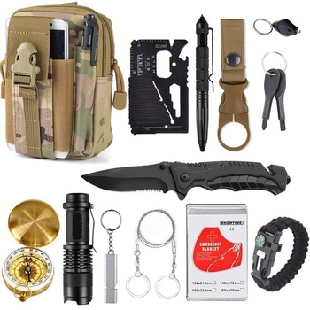13 in 1 survival Gear kit Set Outdoor Camping Travel Survival Products EDC Tool Emergency Supplies Tactical Tools for Wilderness 1