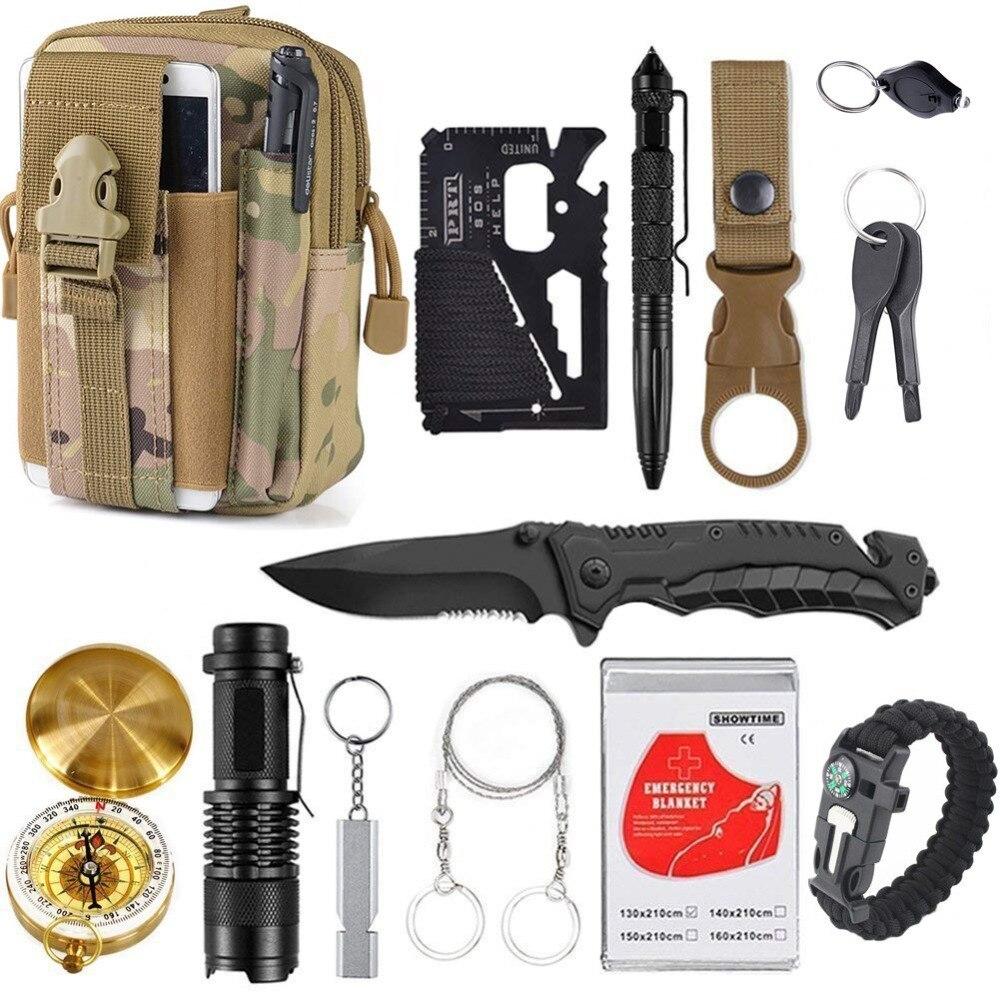 13 в 1 выживания Шестерни комплект Открытый Отдых Путешествия выживания EDC инструмент аварийного поставляет тактические инструменты для Wilderness Безопасность и выживание      АлиЭкспресс