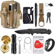 13 in 1 survival Gear kit Set Outdoor Camping Travel Survival Products EDC Tool Emergency Supplies Tactical Tools for Wilderness