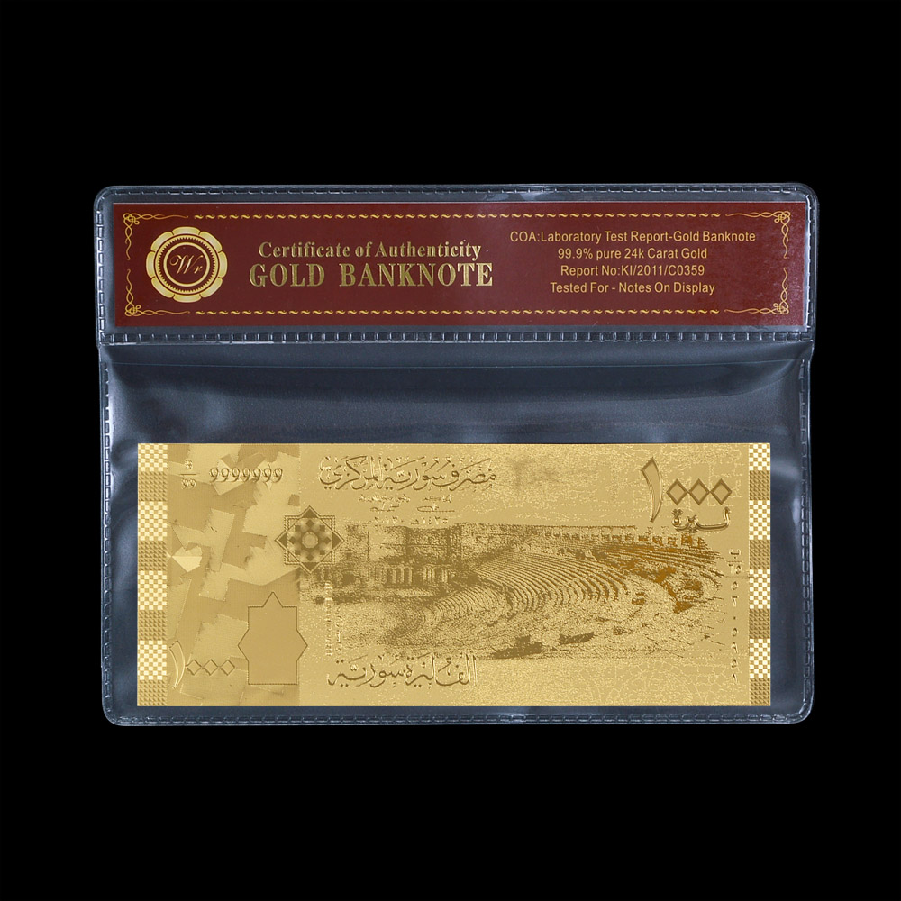 Central Banknote of SYRIA Gold Foil Banknote 1000 SYP Syria Gold Plated Banknote