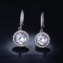 купить VNFURU 2019 White Zircon Round Stud Earring Vintage Lady Jewelry For Wedding Engagement Gifts Wholesale Nickle Free Antiallergic дешево