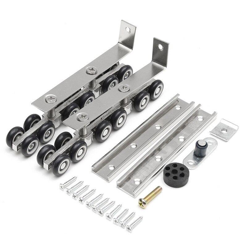 MTGATHER 1 Pair/set Cold Rolled Steel Sliding Wooden Door Closet Hardware  Kit Door Wheels