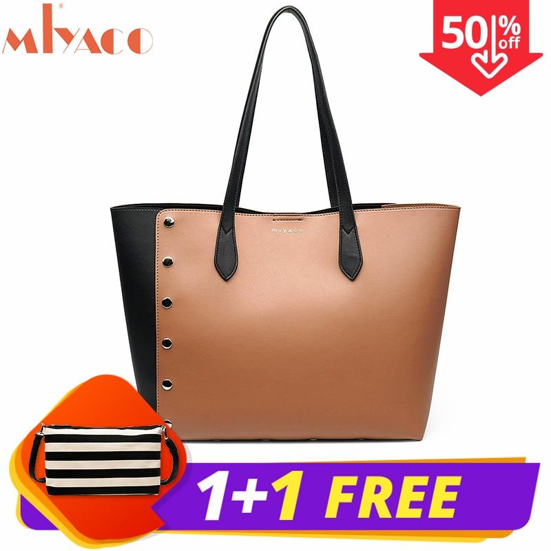 Miyaco Women Shoulder Bags Hiag Quality PU Leather Handbag Women Purse Fashion Casual Tote Bag with