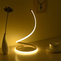 Thrisdar 24W Creative Minimalist Art Lines Table Lamp Dimmable Bedroom Bedside Reading Desk Lamp Eye Protect Table Light