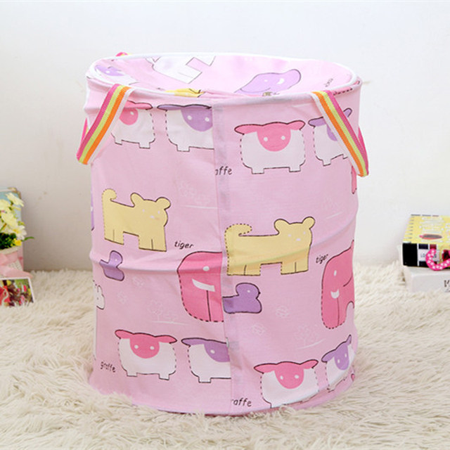 Covered Clothes Holding Bucket Collapsible Laundry Basket Storage Basket  Storage Basket For The Baby Cotton Storage Basket