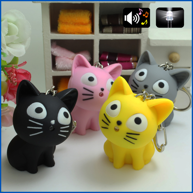 Cute Cheese cat keychain with Meow sound,kawaii led keyring ,Children gift,Valen