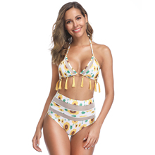 Sexy 2019 Mesh High Waist Triangle Cute Leaf Print Yellow Tassel Swimwear Women Leaf Printed Chest Pad New Bikini Set Wire Free