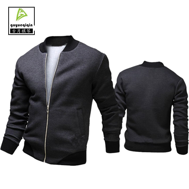 2017 Fashion Casual Male Jacket Europe and America Rib Sleeve Zipper Jaqueta Masculino Solid Coats Plus Size XXL Free Shipping