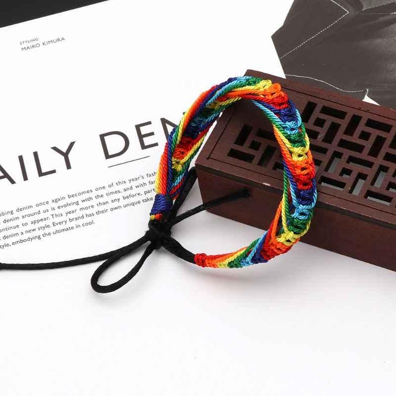 JAVRICK 手作りレインボープライドマーチャンダイズ編組ブレスレットセーラー織りサーファーファッション簡単なためゲイレズビアン